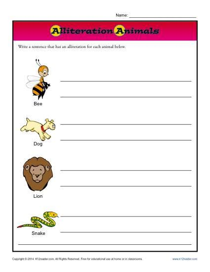 alliteration animals 2nd grade worksheets