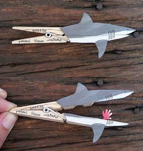 Einfache Bastelideen Für Kleinkinder : sharks patrol these waters holz w scheklammern basteln und kinder ~ Orissabook.com Haus und Dekorationen