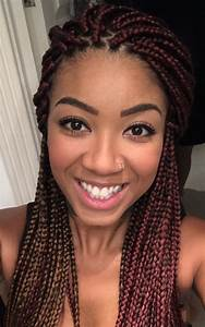 Red medium/small box braids with a hint of gold! | hairz ...