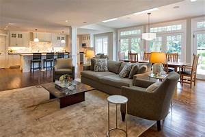 open floor plan flooring living room traditional with