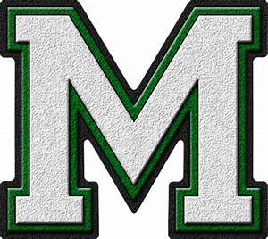 presentation alphabets white green varsity letter m With high school varsity letters