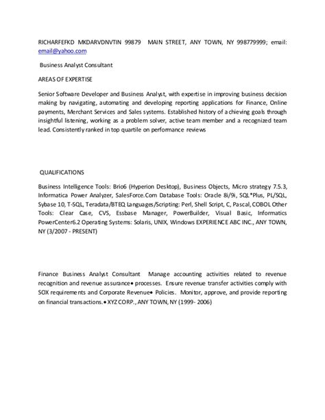 Business Analyst Consultant Resume by Business Analyst Resume