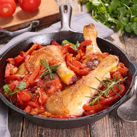cuisine poulet au four recette poulet basquaise au four facile rapide