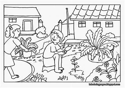 Scenery Coloring Pages Colouring Nature Farm Getdrawings