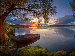 Summer Lake Willow Boat Sunset Wallpaper Widescreen Hd
