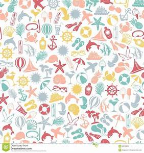 Seamless Pattern Summer Travel Icons Stock Vector ...