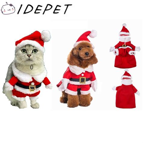 high quality santa claus dog costume pet cat coat winter clothes christmas apparel cotton