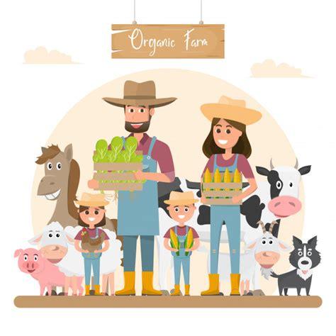 Personagem de desenho animado família agricultor com