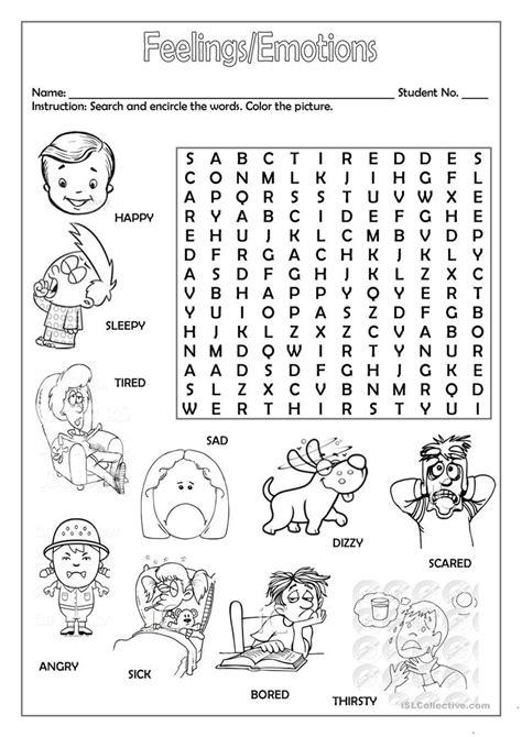 feelingsemotions english worksheets  kids english
