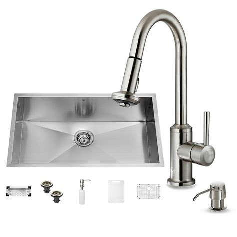 one hole sink faucet vigo all in one undermount stainless steel 32 in 0 hole