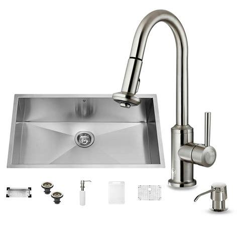 single basin stainless steel sink vigo all in one undermount stainless steel 32 in 0 hole