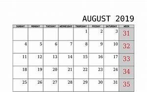 Calender August August 2019 Calendar Uk Blank Template Free Download