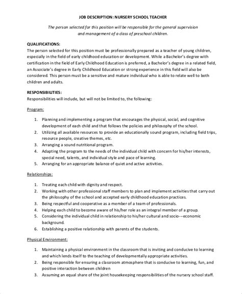 sample description 12 examples in word pdf 693 | Nursery School Teacher Job Description