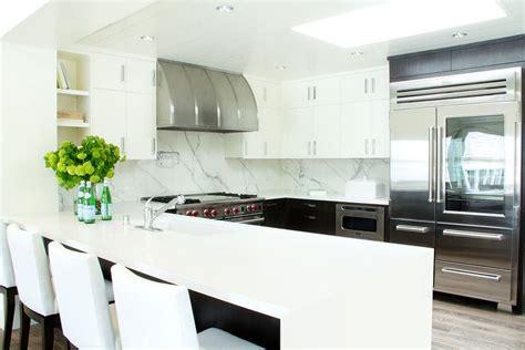 stainless steel kitchen backsplash panels white quartz waterfall countertops design ideas