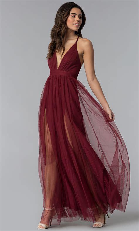 sexy prom dress  deep  neckline promgirl