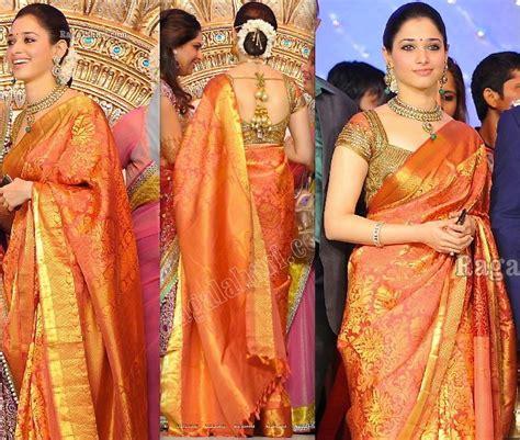 gold silk drapes tamanna in bridal saree south india fashion
