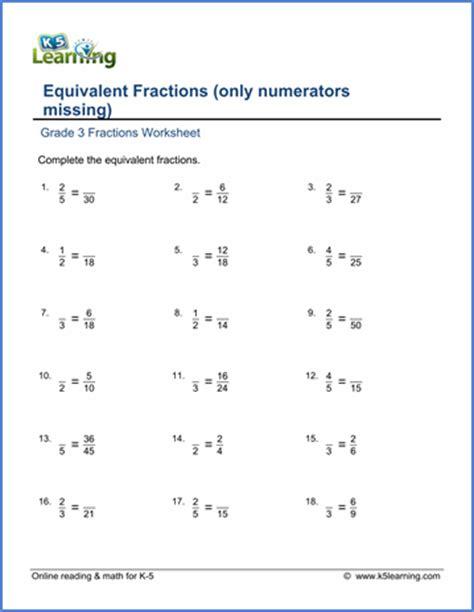 pre school worksheets 187 equivalent fractions worksheets