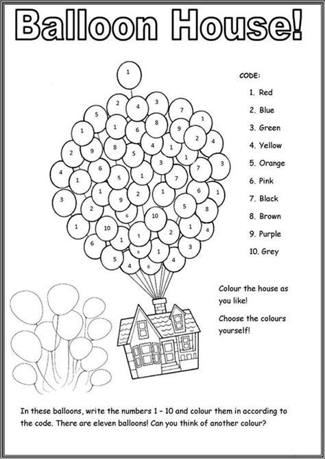 printable color  number worksheets  kindergarten