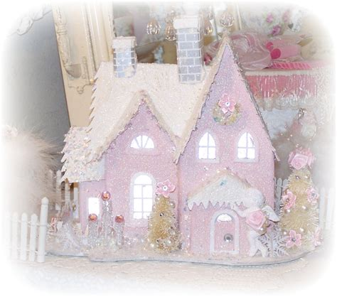 pink shabby chic treasury shabby chic pink christmas village house glitter