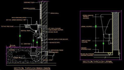 Kitchen Design Layout Ideas For Small Kitchens - typical section of wash basin and urinal plan n design