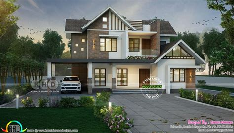 sloping roof mix  bedroom  sq ft home   kerala house design architect house