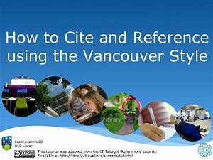 Vancouver Style Guide - Academic Integrity