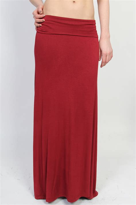 draped maxi skirt themogan casual solid plain draped jersey knit maxi