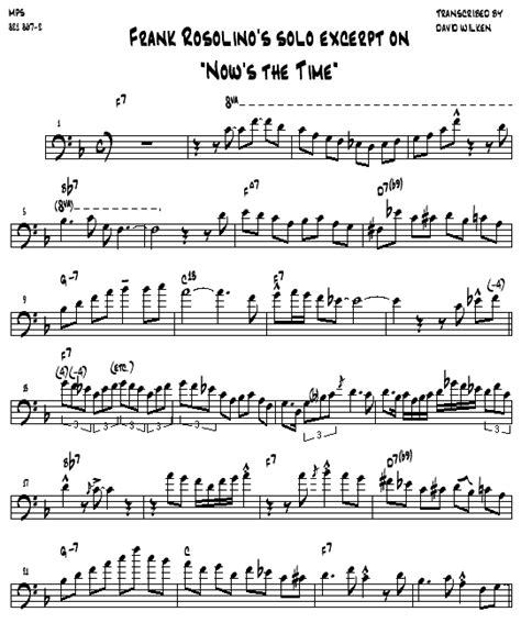 "Transcription Of ""now's The Time"" As Played By Frank Rosolino"