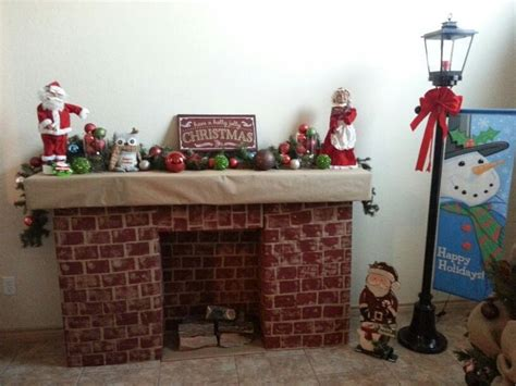 diy cardboard box christmas fireplace tape cardboard