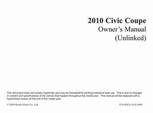 Honda Civic Coupe 2010 Owner U0026 39 S Manual