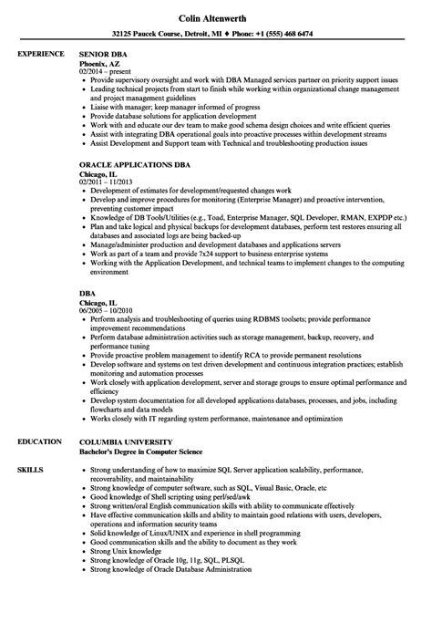 Dba Manager Resume by Sle Dba Resume Bijeefopijburg Nl