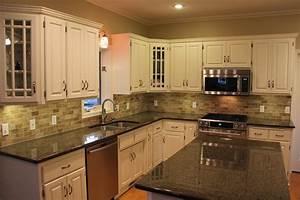 Kitchen dining backsplash ideas for white themed for Tile backsplash for kitchens with granite countertops