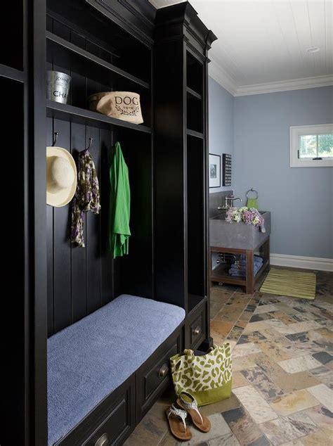 blue mudroom  black door cottage laundry room
