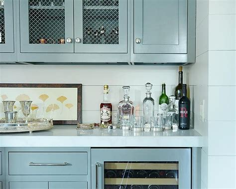 Gray Bar Cabinets With Shiplap Backsplash