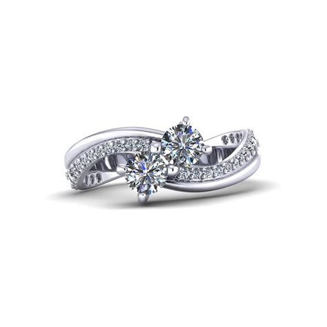 curved two stone diamond ring jewelry designs