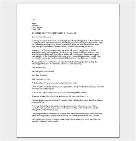 job appointment letter  samples  word   format