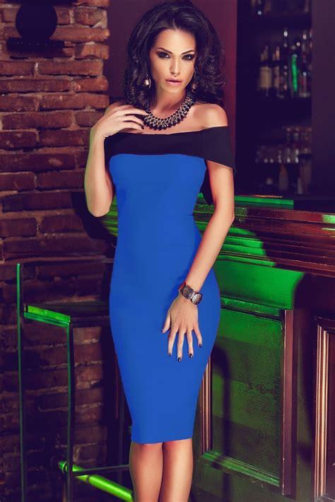 women   shoulder mini royal blue bodycon dress