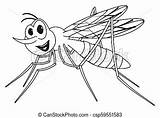 Mosquito Coloring Smiling Happy sketch template