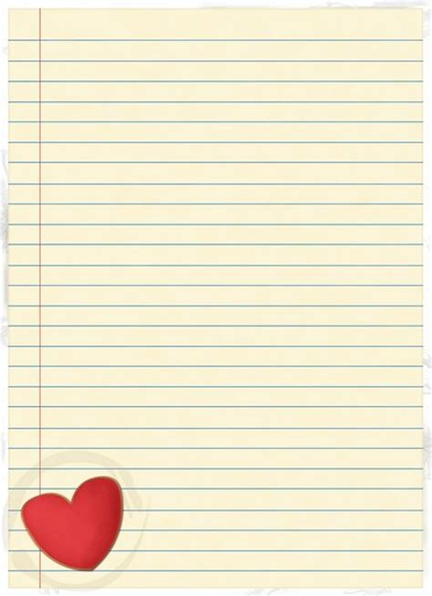 heart writing paper  lines heart