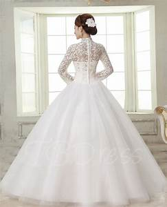 ball gown high neck long sleeves lace wedding dress With high neck wedding dress with sleeves