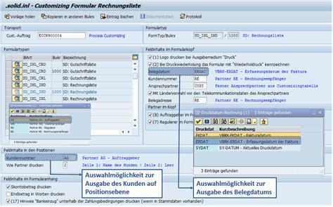 customize template formulary customizing sap formular rechnungsliste solidforms