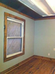 Barn wood trimmed window barn tin on ceiling casa for Barnwood trim