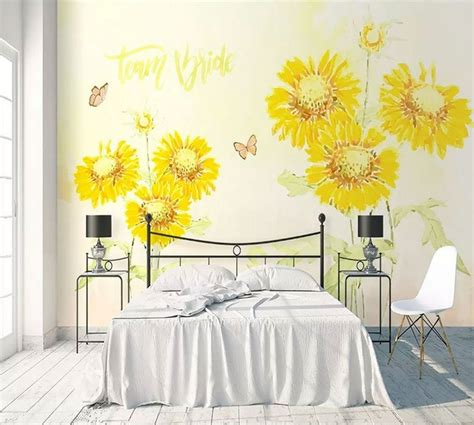 sunflower bedroom decor wall mural decorating decolover