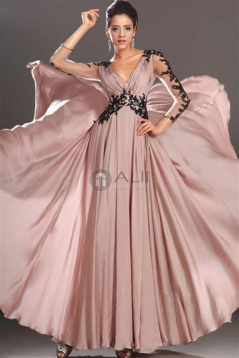 2015 V Neck 3/4 Long Sleeve Evening Gown Ruched Chiffon ...