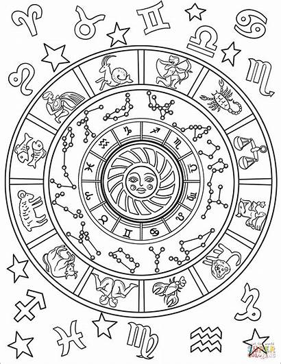 Coloring Signs Pages Astrological Printable Sheets Zodiac