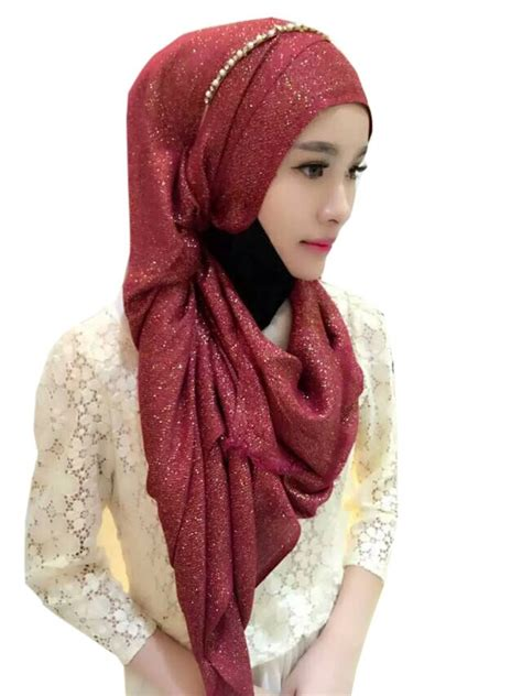 pcslot  big scarf hijab shimmer glitter scarf hijab  brooches  womens scarves