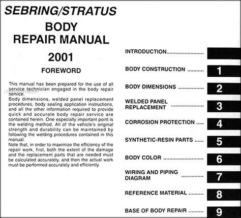 automotive service manuals 2001 chrysler sebring on board diagnostic system 2001 sebring and stratus coupe body repair shop manual original