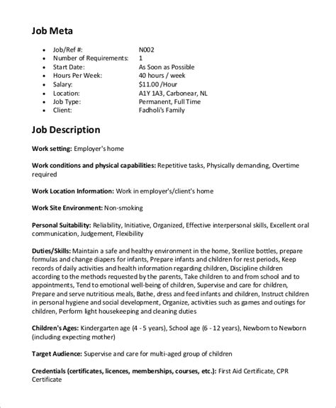 Description Of Nanny For Resume by Sle Nanny Description 8 Exles In Word Pdf