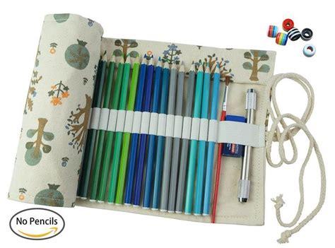amazoncom creoogo canvas pencil wrap pencils roll pouch