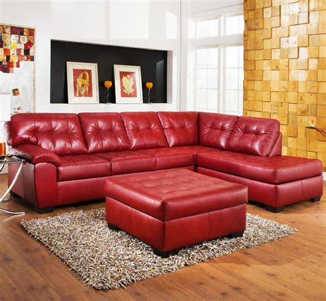 Red Leather Sectional Sofa Sofas Luxury Your Living Room